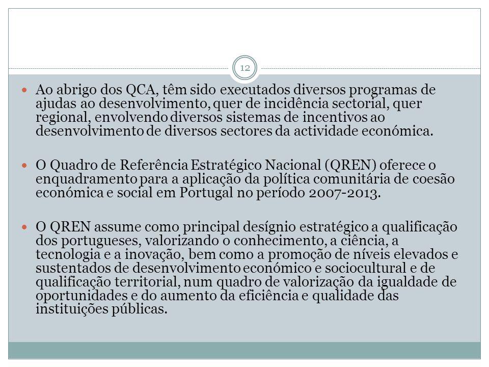 12 Ao abrigo dos QCA, têm sido executados diversos programas de ajudas ao desenvolvimento, quer de incidência sectorial, quer regional, envolvendo div