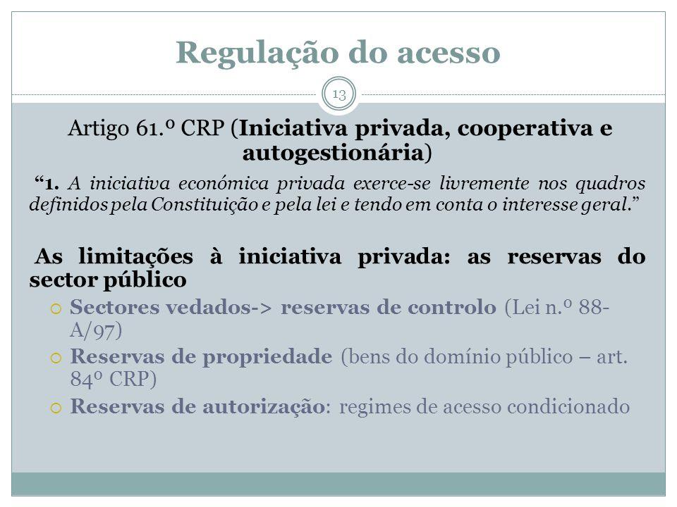 Regulação do acesso 13 Artigo 61.º CRP (Iniciativa privada, cooperativa e autogestionária) 1. A iniciativa económica privada exerce-se livremente nos