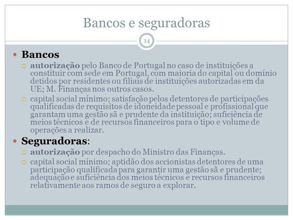 Bancos e seguradoras 14 Bancos autorização pelo Banco de Portugal no caso de instituições a constituir com sede em Portugal, com maioria do capital ou