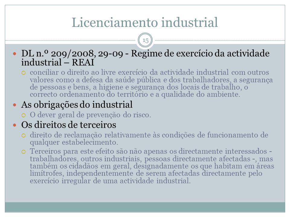 Licenciamento industrial 15 DL n.º 209/2008, 29-09 - Regime de exercício da actividade industrial – REAI conciliar o direito ao livre exercício da act