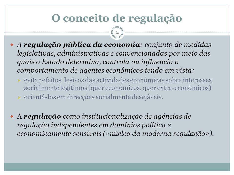 O conceito de regulação 2 A regulação pública da economia: conjunto de medidas legislativas, administrativas e convencionadas por meio das quais o Est