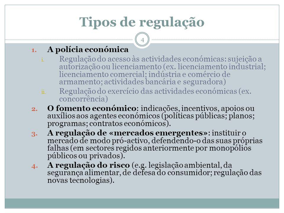 Áreas de regulação 5 – Planeamento e formas de orientação e auxílio aos agentes económicos; – Acesso à actividade económica; – Actividade monetária e financeira; – Concorrência; - Mercados emergentes; – Ambiente; – Qualidade e segurança de produtos e serviços; – Informação e comunicação.