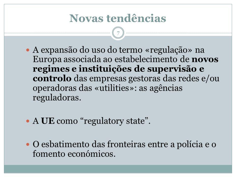 Novas tendências 7 A expansão do uso do termo «regulação» na Europa associada ao estabelecimento de novos regimes e instituições de supervisão e contr