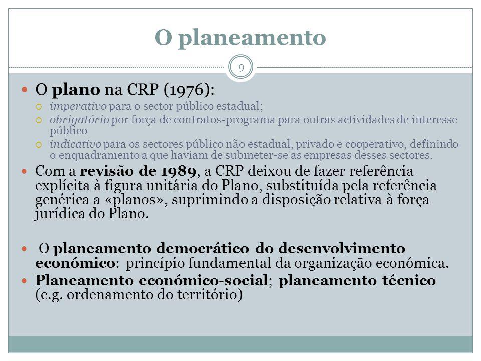 O planeamento 9 O plano na CRP (1976): imperativo para o sector público estadual; obrigatório por força de contratos-programa para outras actividades