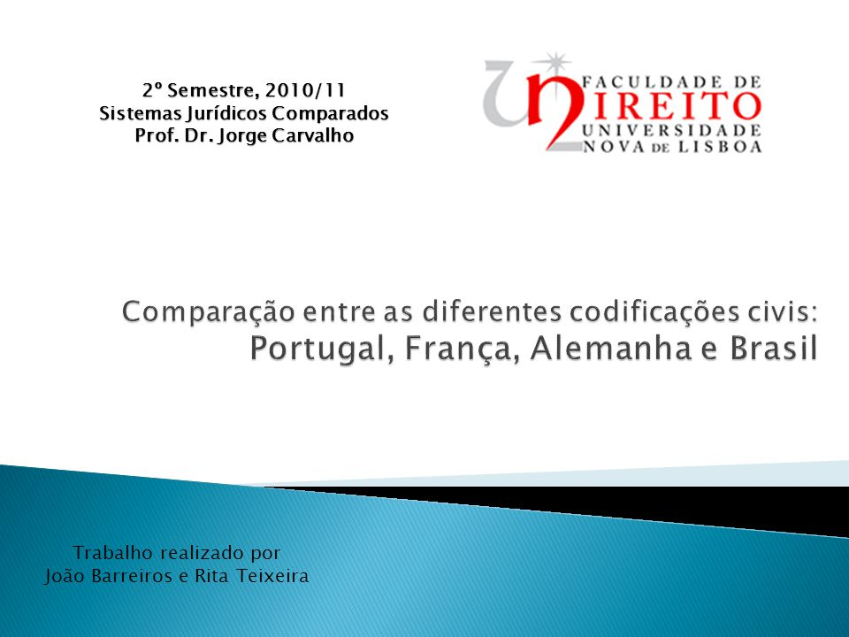 2º Semestre, 2010/11 Sistemas Jurídicos Comparados Prof.