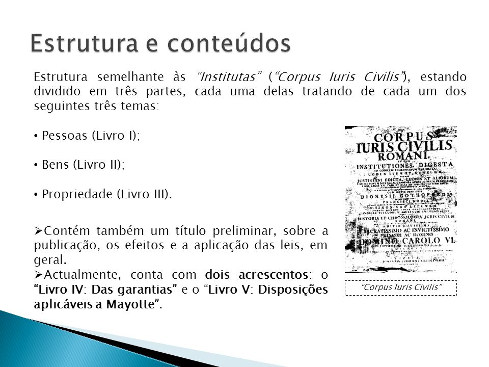Estrutura semelhante às Institutas (Corpus Iuris Civilis), estando dividido em três partes, cada uma delas tratando de cada um dos seguintes três temas: Pessoas (Livro I); Bens (Livro II); Propriedade (Livro III).