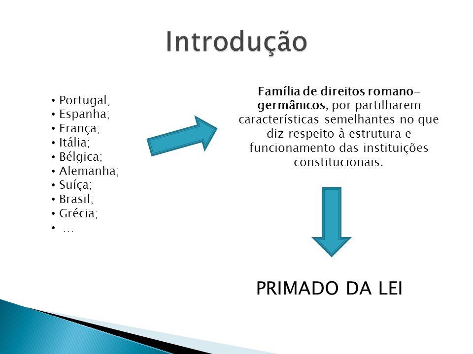 Portugal; Espanha; França; Itália; Bélgica; Alemanha; Suíça; Brasil; Grécia; … Família de direitos romano- germânicos, por partilharem características semelhantes no que diz respeito à estrutura e funcionamento das instituições constitucionais.