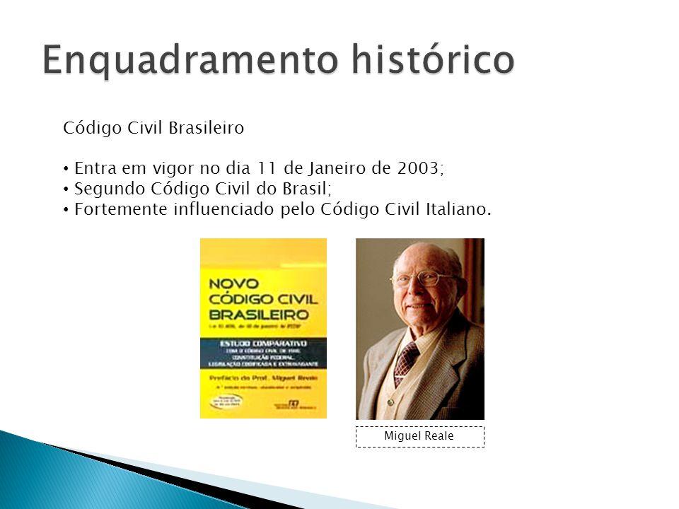 Código Civil Brasileiro Entra em vigor no dia 11 de Janeiro de 2003; Segundo Código Civil do Brasil; Fortemente influenciado pelo Código Civil Italiano.