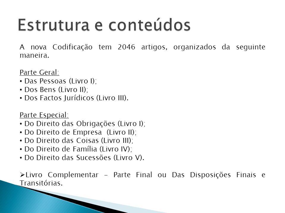 A nova Codificação tem 2046 artigos, organizados da seguinte maneira.