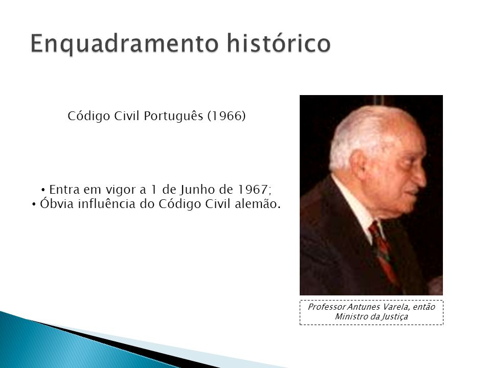 Código Civil Português (1966) Entra em vigor a 1 de Junho de 1967; Óbvia influência do Código Civil alemão.