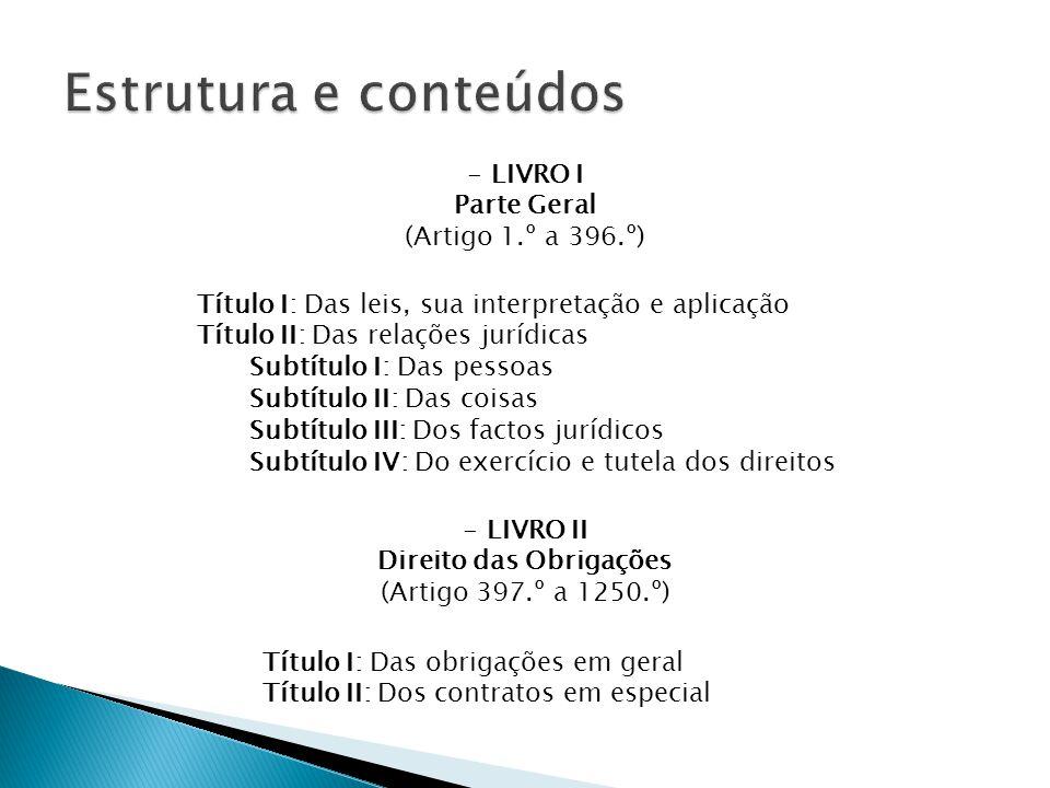 Título I: Das leis, sua interpretação e aplicação Título II: Das relações jurídicas Subtítulo I: Das pessoas Subtítulo II: Das coisas Subtítulo III: Dos factos jurídicos Subtítulo IV: Do exercício e tutela dos direitos - LIVRO I Parte Geral (Artigo 1.º a 396.º) - LIVRO II Direito das Obrigações (Artigo 397.º a 1250.º) Título I: Das obrigações em geral Título II: Dos contratos em especial