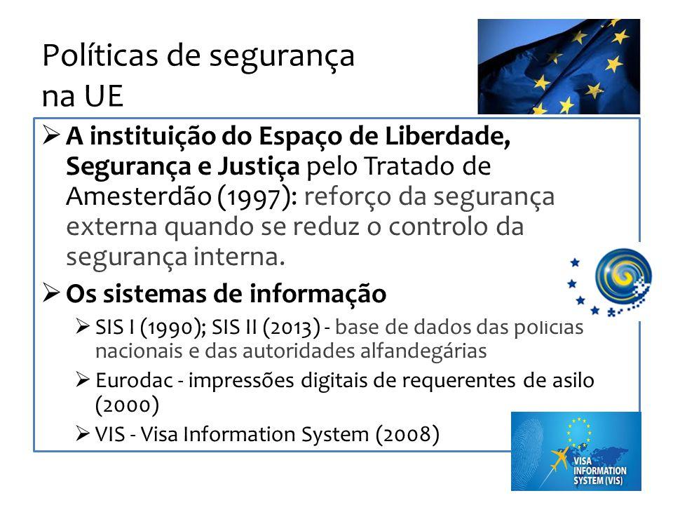 Políticas de segurança na UE A instituição do Espaço de Liberdade, Segurança e Justiça pelo Tratado de Amesterdão (1997): reforço da segurança externa quando se reduz o controlo da segurança interna.