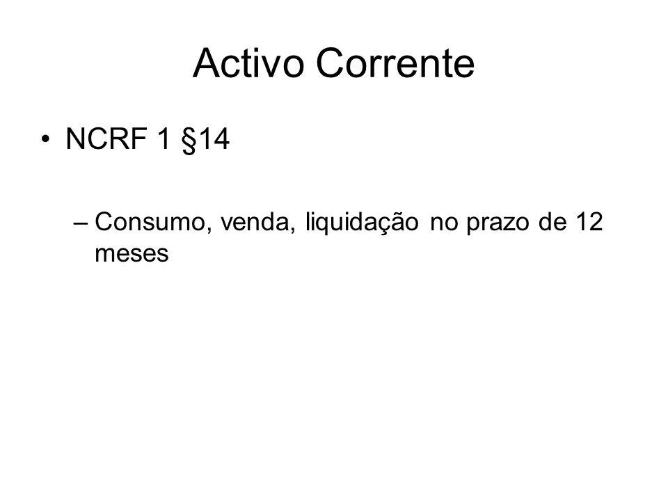 Activo Corrente NCRF 1 §14 –Consumo, venda, liquidação no prazo de 12 meses