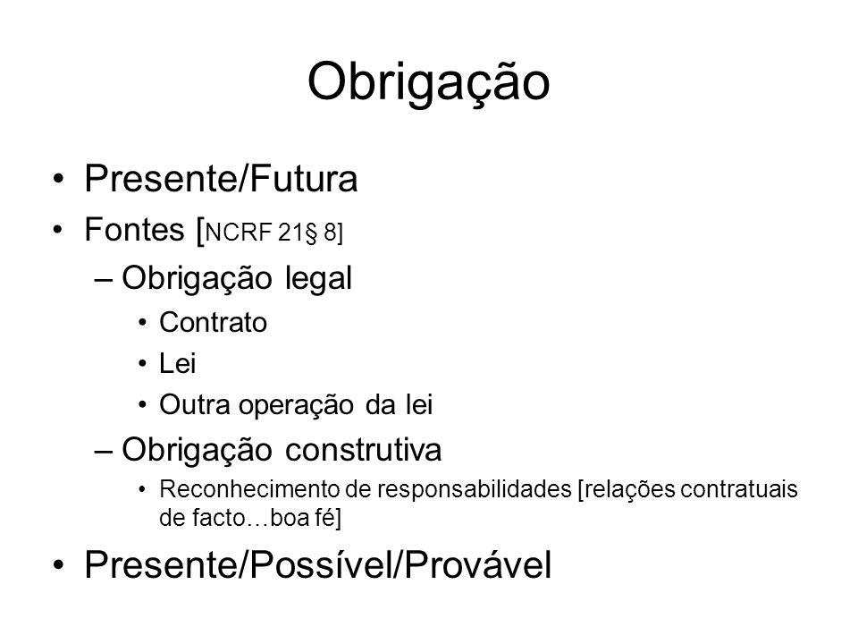 Obrigação Presente/Futura Fontes [ NCRF 21§ 8] –Obrigação legal Contrato Lei Outra operação da lei –Obrigação construtiva Reconhecimento de responsabi