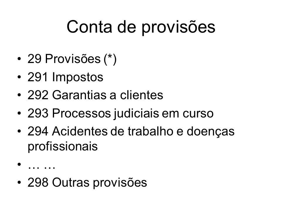 Conta de provisões 29 Provisões (*) 291 Impostos 292 Garantias a clientes 293 Processos judiciais em curso 294 Acidentes de trabalho e doenças profiss