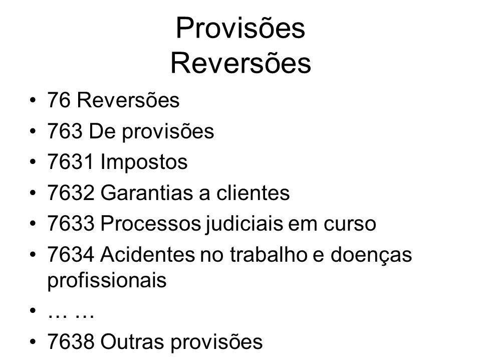 Provisões Reversões 76 Reversões 763 De provisões 7631 Impostos 7632 Garantias a clientes 7633 Processos judiciais em curso 7634 Acidentes no trabalho