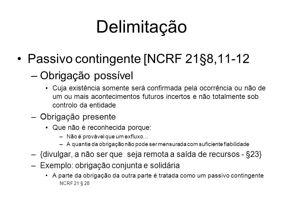 Delimitação Passivo contingente [NCRF 21§8,11-12 –Obrigação possível Cuja existência somente será confirmada pela ocorrência ou não de um ou mais acon