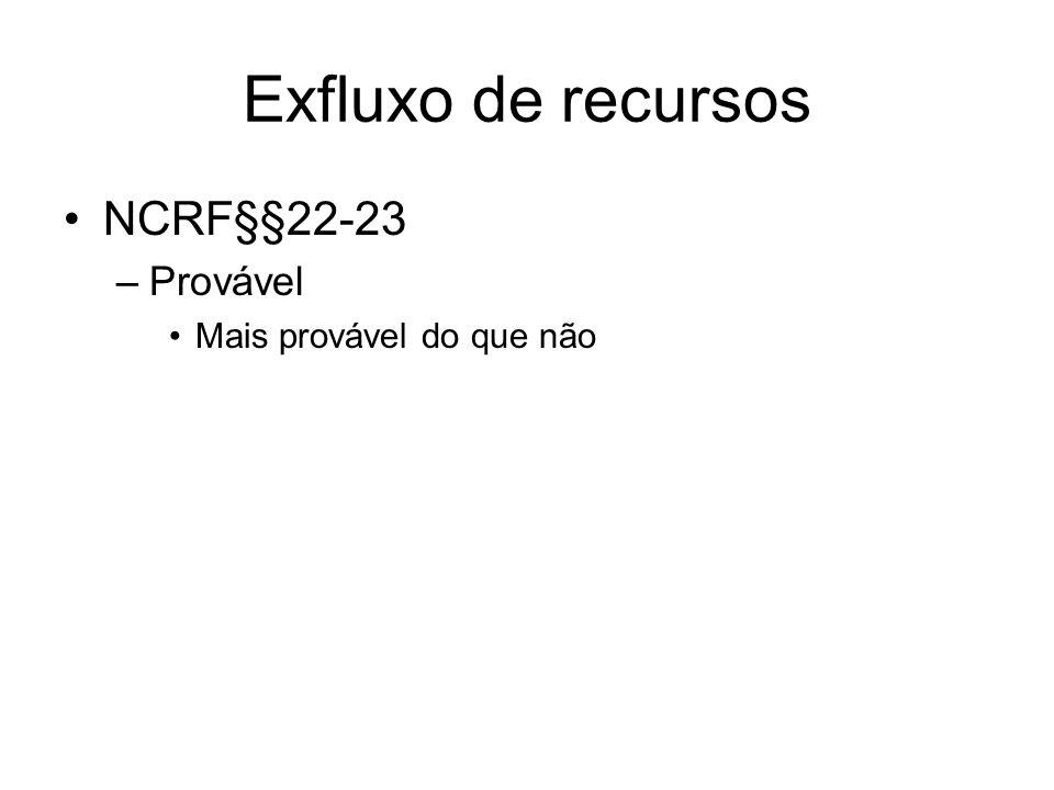 Exfluxo de recursos NCRF§§22-23 –Provável Mais provável do que não