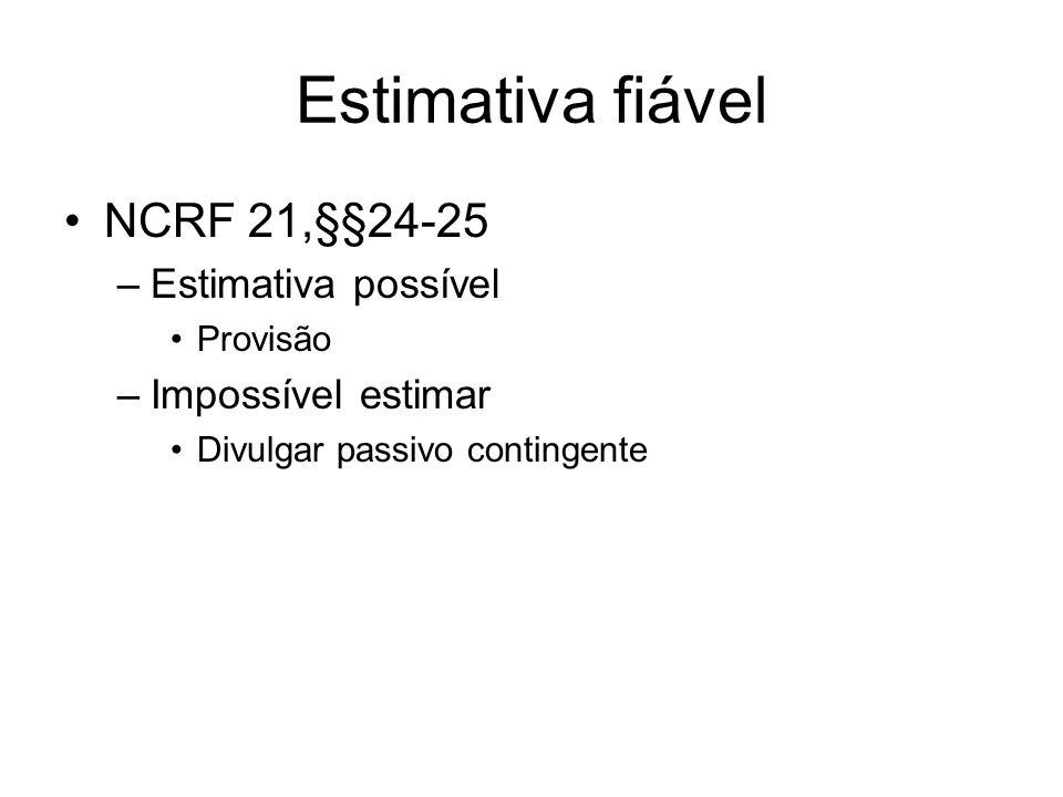 Estimativa fiável NCRF 21,§§24-25 –Estimativa possível Provisão –Impossível estimar Divulgar passivo contingente