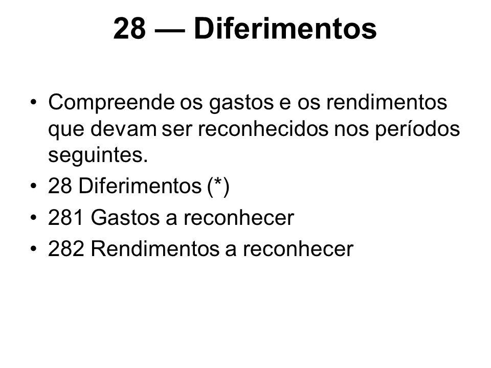 28 Diferimentos Compreende os gastos e os rendimentos que devam ser reconhecidos nos períodos seguintes. 28 Diferimentos (*) 281 Gastos a reconhecer 2