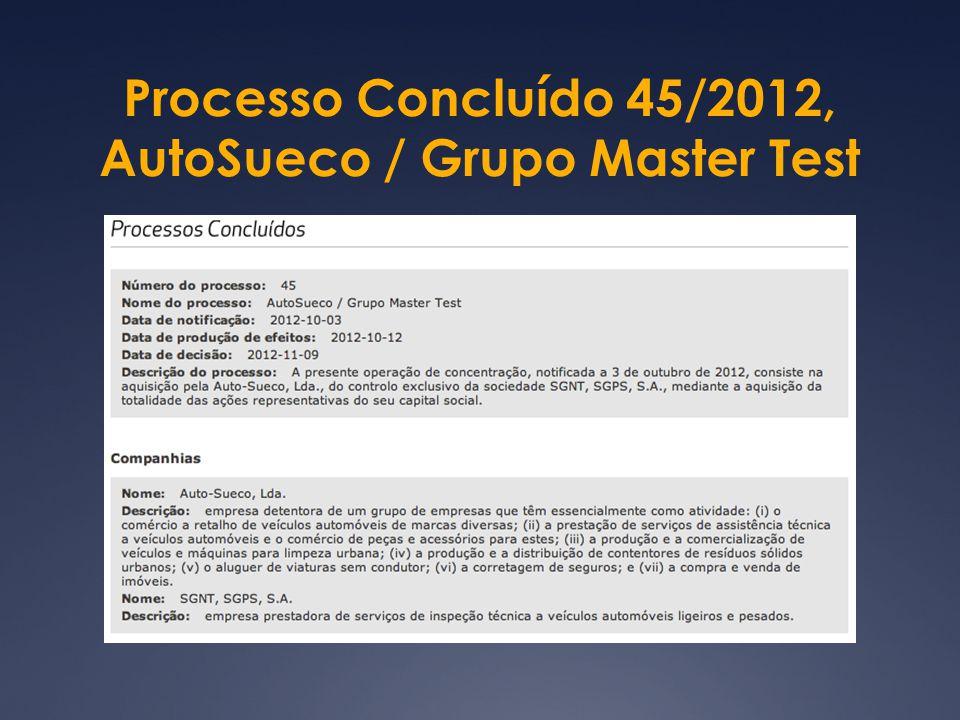Processo Concluído 45/2012, AutoSueco / Grupo Master Test