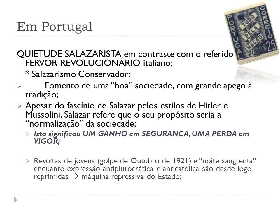 Em Portugal QUIETUDE SALAZARISTA em contraste com o referido FERVOR REVOLUCIONÁRIO italiano; * Salazarismo Conservador: Fomento de uma boa sociedade,
