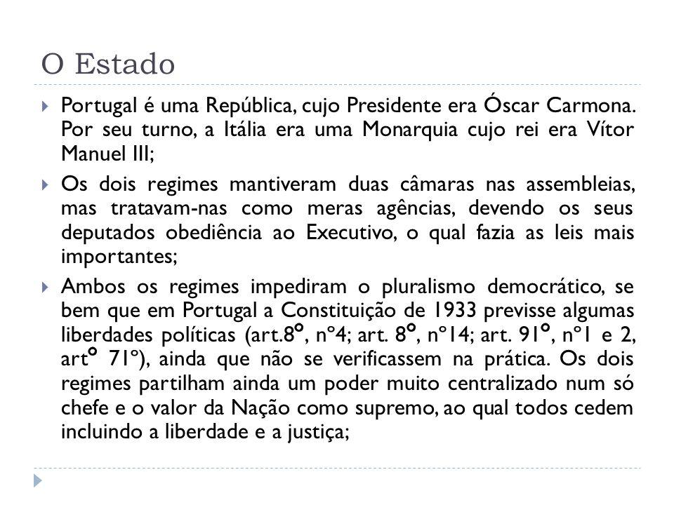 O Estado Portugal é uma República, cujo Presidente era Óscar Carmona. Por seu turno, a Itália era uma Monarquia cujo rei era Vítor Manuel III; Os dois