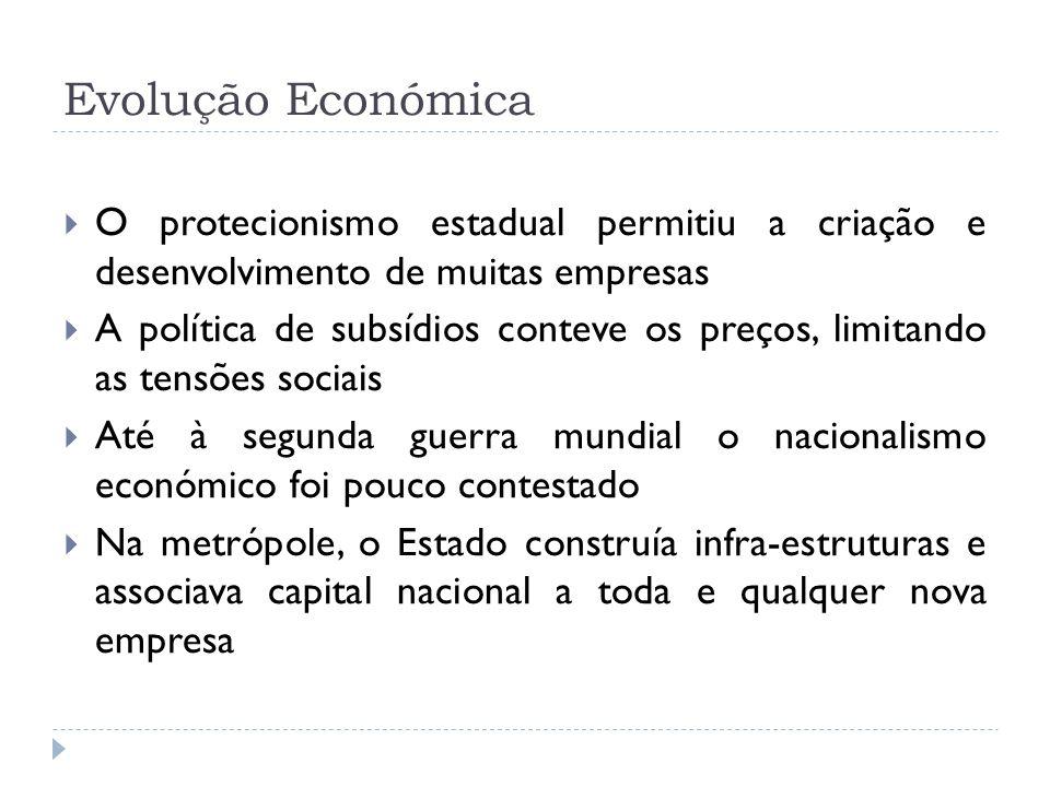 Evolução Económica O protecionismo estadual permitiu a criação e desenvolvimento de muitas empresas A política de subsídios conteve os preços, limitan