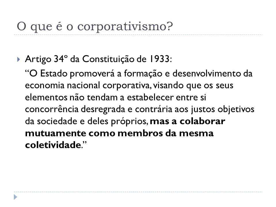 O que é o corporativismo? Artigo 34º da Constituição de 1933: O Estado promoverá a formação e desenvolvimento da economia nacional corporativa, visand