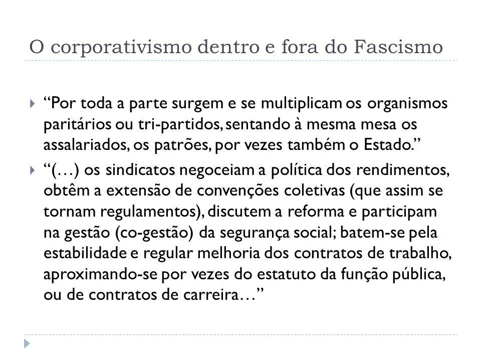O corporativismo dentro e fora do Fascismo Por toda a parte surgem e se multiplicam os organismos paritários ou tri-partidos, sentando à mesma mesa os