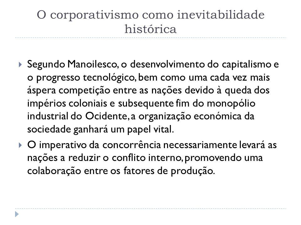 O corporativismo como inevitabilidade histórica Segundo Manoilesco, o desenvolvimento do capitalismo e o progresso tecnológico, bem como uma cada vez