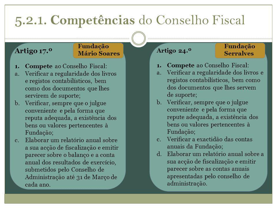 5.2.1. Competências do Conselho Fiscal Artigo 17.º 1.Compete ao Conselho Fiscal: a.Verificar a regularidade dos livros e registos contabilísticos, bem