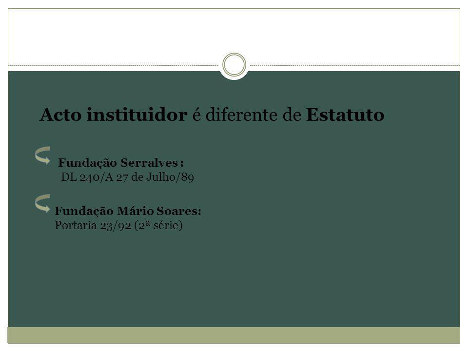 Acto instituidor é diferente de Estatuto Fundação Serralves : DL 240/A 27 de Julho/89 Fundação Mário Soares: Portaria 23/92 (2ª série)