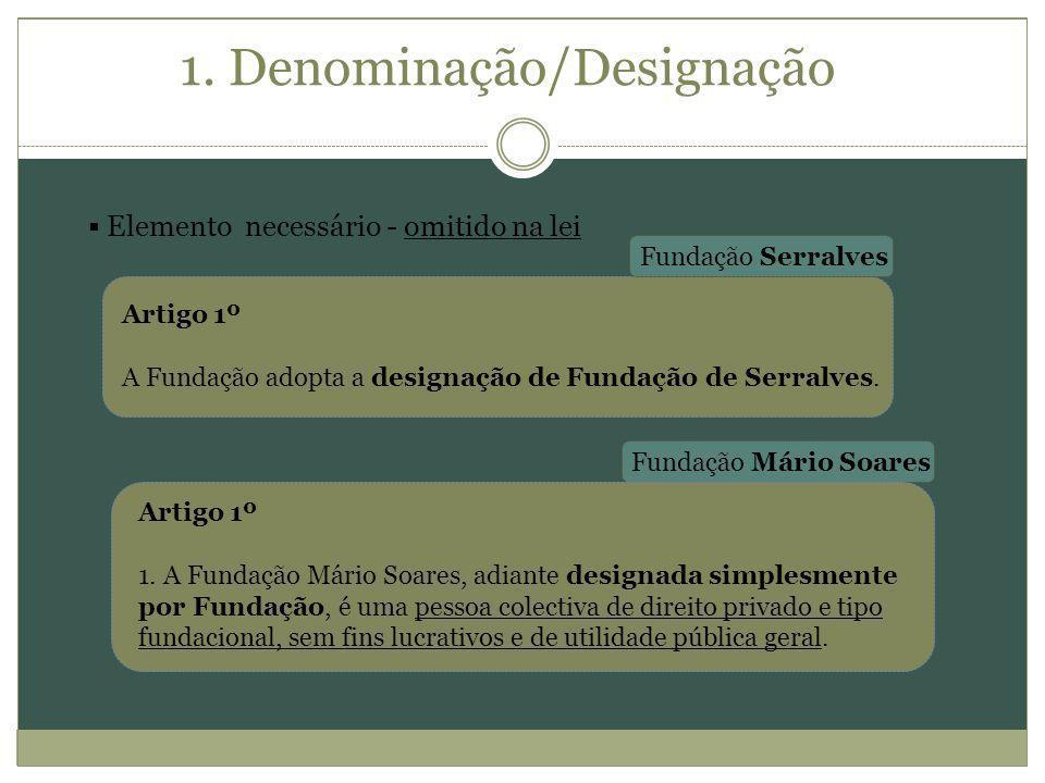 1. Denominação/Designação Elemento necessário - omitido na lei Artigo 1º A Fundação adopta a designação de Fundação de Serralves. Artigo 1º 1. A Funda