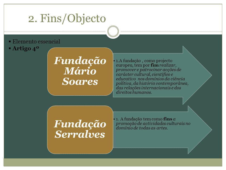 2. Fins/Objecto Elemento essencial Artigo 4º 1.A fundação, como projecto europeu, tem por fim realizar, promover e patrocinar acções de carácter cultu