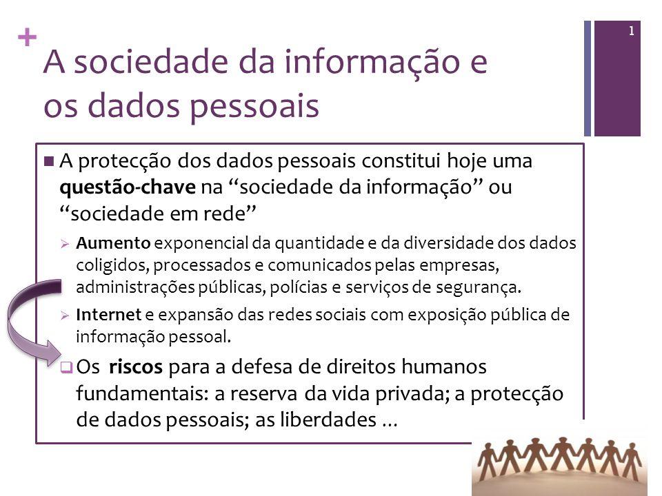 + A sociedade da informação e os dados pessoais A protecção dos dados pessoais constitui hoje uma questão-chave na sociedade da informação ou sociedade em rede Aumento exponencial da quantidade e da diversidade dos dados coligidos, processados e comunicados pelas empresas, administrações públicas, polícias e serviços de segurança.