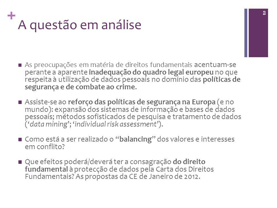 + A questão em análise As preocupações em matéria de direitos fundamentais acentuam-se perante a aparente inadequação do quadro legal europeu no que respeita à utilização de dados pessoais no domínio das políticas de segurança e de combate ao crime.