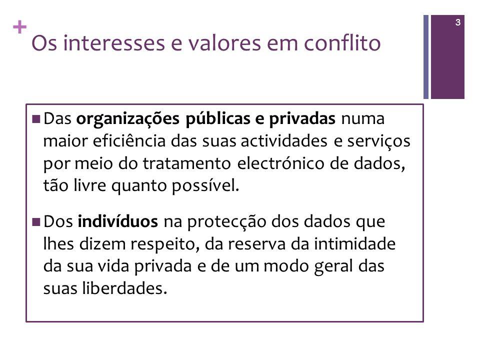 + Os interesses e valores em conflito Das organizações públicas e privadas numa maior eficiência das suas actividades e serviços por meio do tratamento electrónico de dados, tão livre quanto possível.