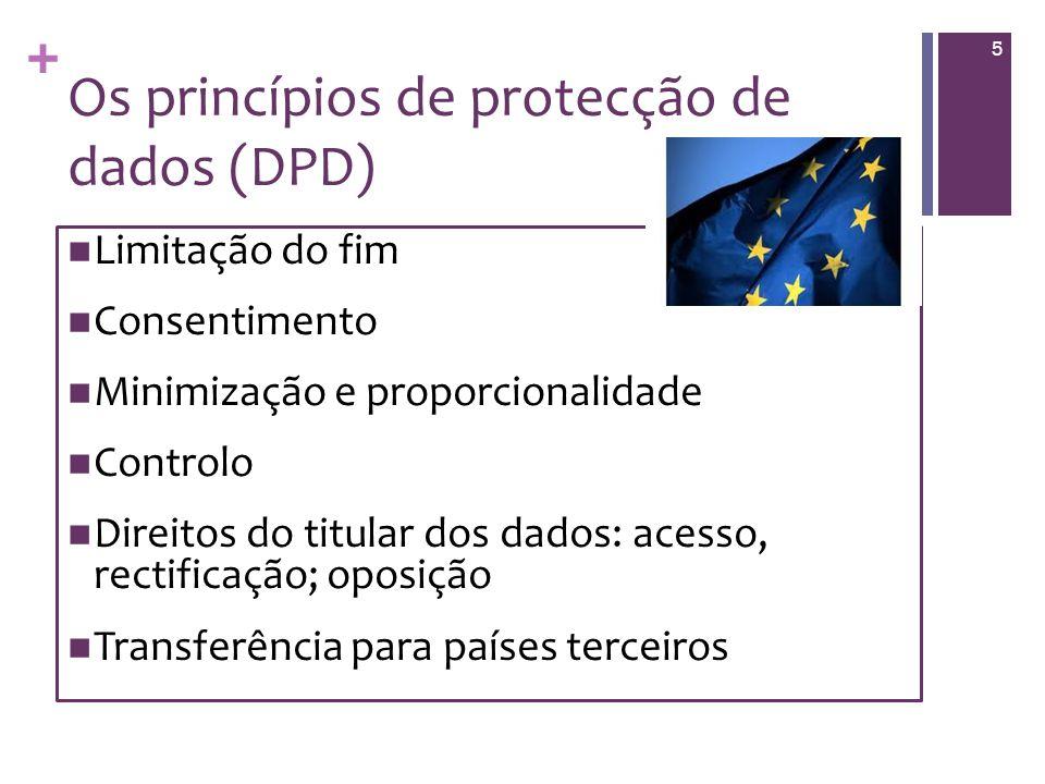+ Os princípios de protecção de dados (DPD) Limitação do fim Consentimento Minimização e proporcionalidade Controlo Direitos do titular dos dados: acesso, rectificação; oposição Transferência para países terceiros 5