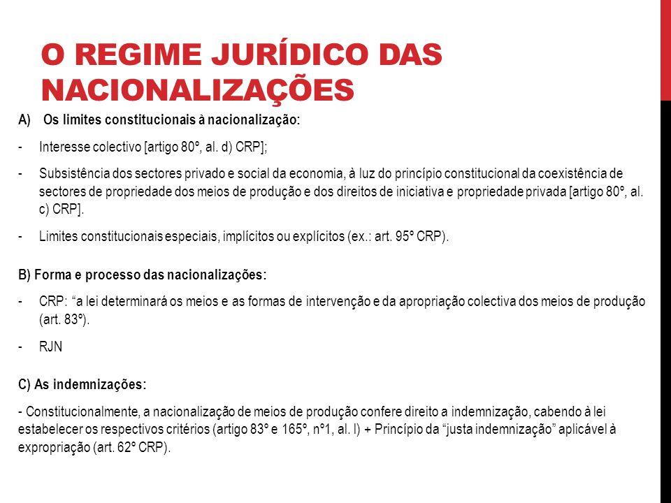 O REGIME JURÍDICO DAS NACIONALIZAÇÕES A)Os limites constitucionais à nacionalização: -Interesse colectivo [artigo 80º, al.