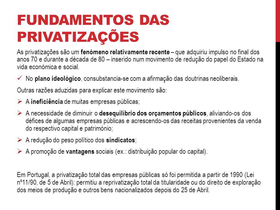 FUNDAMENTOS DAS PRIVATIZAÇÕES As privatizações são um fenómeno relativamente recente – que adquiriu impulso no final dos anos 70 e durante a década de 80 – inserido num movimento de redução do papel do Estado na vida económica e social.