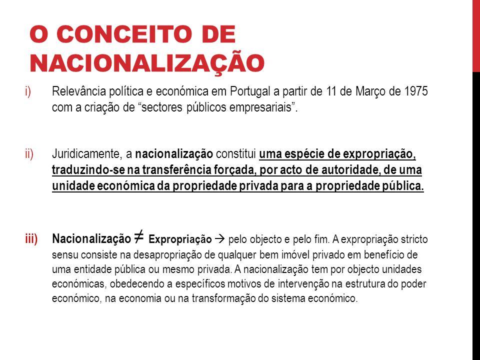 O CONCEITO DE NACIONALIZAÇÃO i)Relevância política e económica em Portugal a partir de 11 de Março de 1975 com a criação de sectores públicos empresariais.