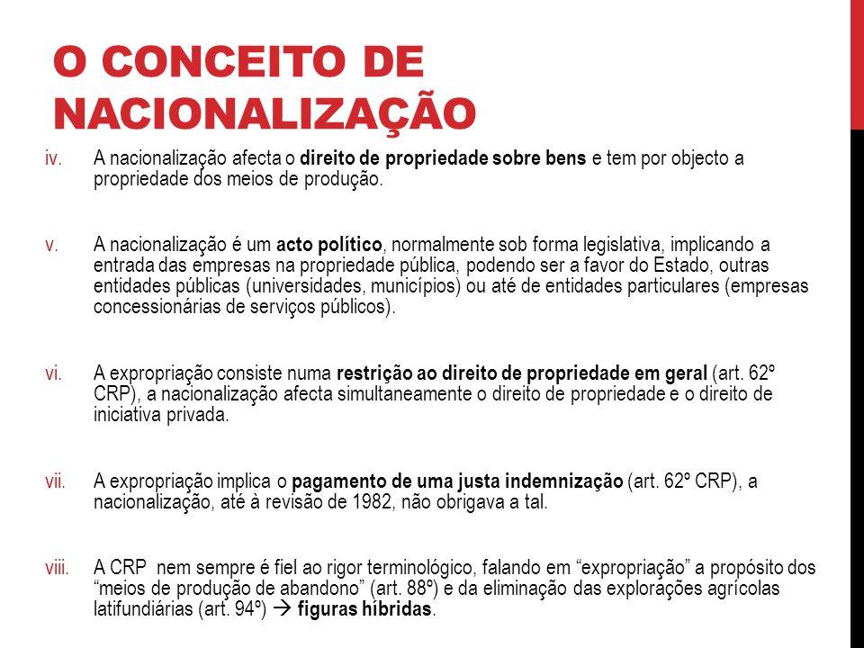 O CONCEITO DE NACIONALIZAÇÃO iv.A nacionalização afecta o direito de propriedade sobre bens e tem por objecto a propriedade dos meios de produção.
