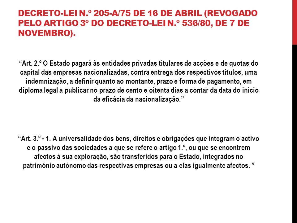 DECRETO-LEI N.º 205-A/75 DE 16 DE ABRIL (REVOGADO PELO ARTIGO 3º DO DECRETO-LEI N.º 536/80, DE 7 DE NOVEMBRO).