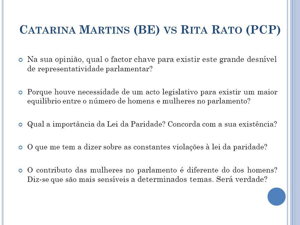 C ATARINA M ARTINS (BE) VS R ITA R ATO (PCP) Na sua opinião, qual o factor chave para existir este grande desnível de representatividade parlamentar.