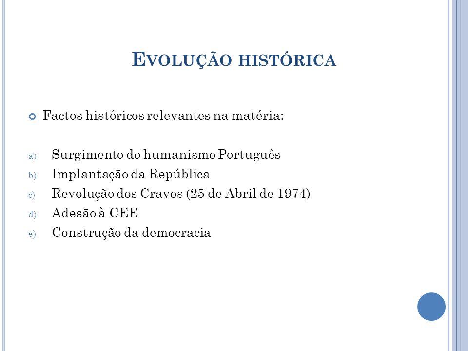 E VOLUÇÃO HISTÓRICA Factos históricos relevantes na matéria: a) Surgimento do humanismo Português b) Implantação da República c) Revolução dos Cravos (25 de Abril de 1974) d) Adesão à CEE e) Construção da democracia