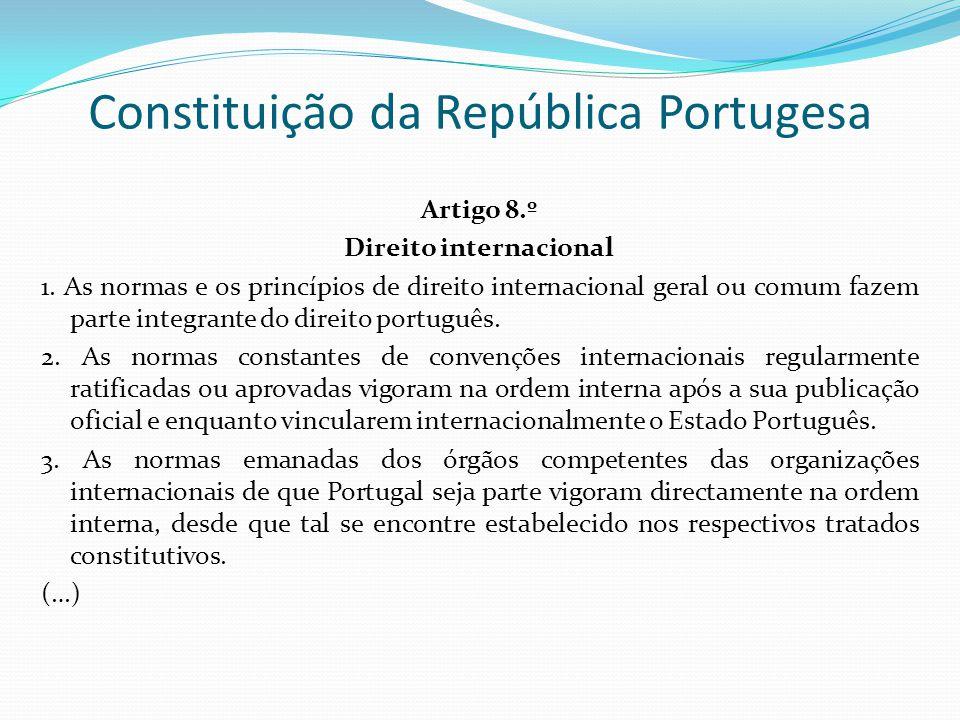 Constituição da República Portugesa Artigo 8.º Direito internacional 1. As normas e os princípios de direito internacional geral ou comum fazem parte