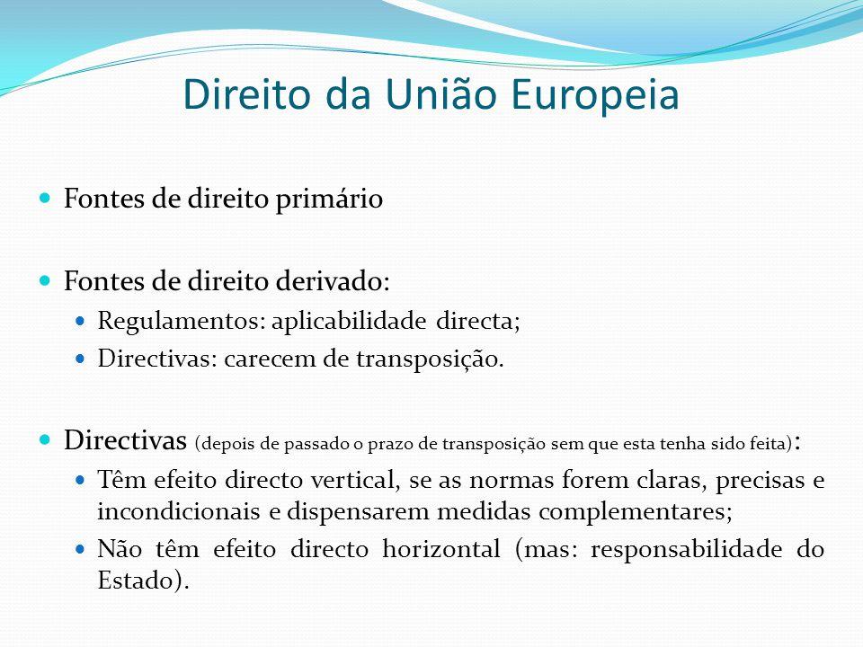 Direito da União Europeia Fontes de direito primário Fontes de direito derivado: Regulamentos: aplicabilidade directa; Directivas: carecem de transpos