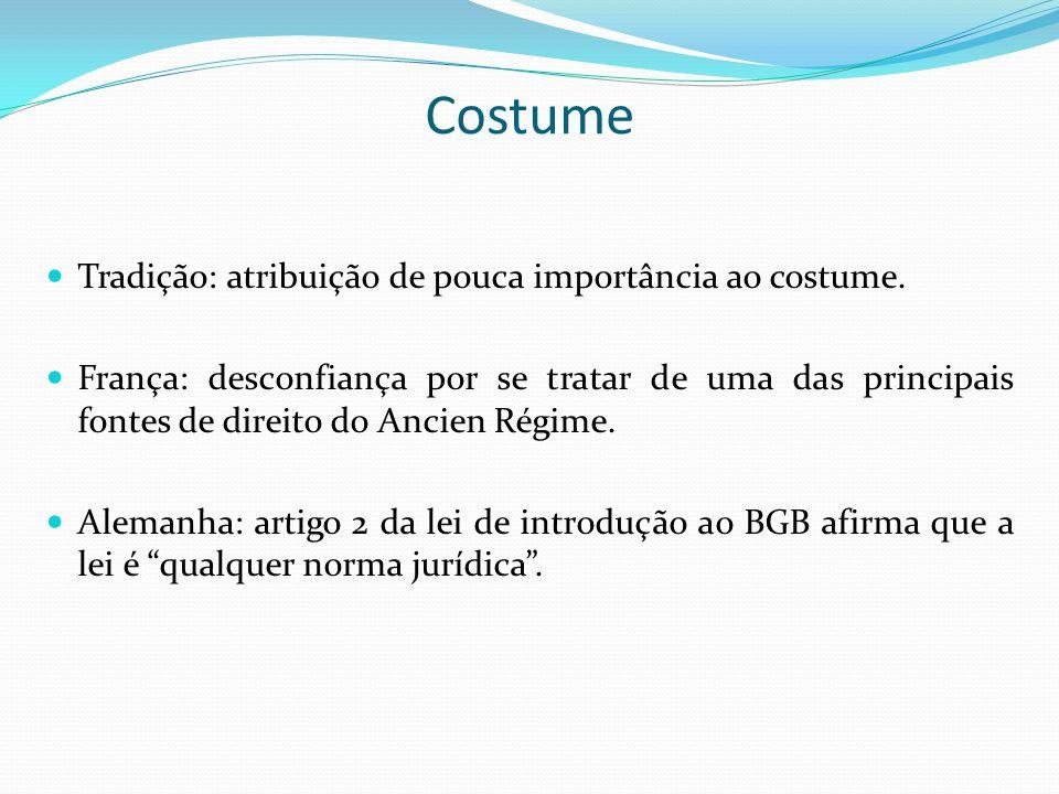 Costume Tradição: atribuição de pouca importância ao costume. França: desconfiança por se tratar de uma das principais fontes de direito do Ancien Rég
