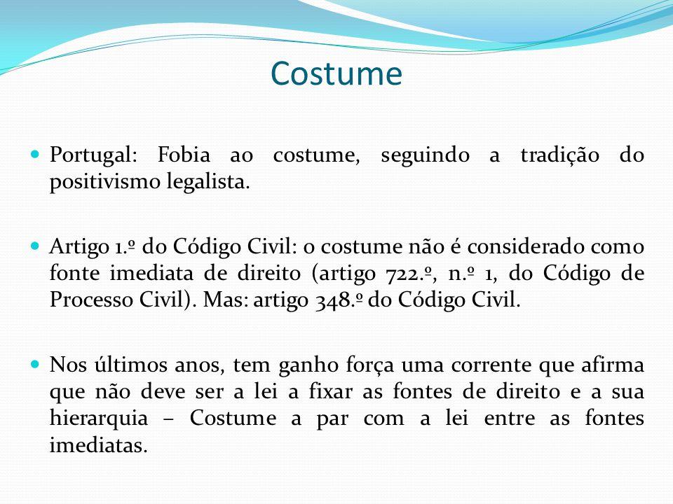 Costume Portugal: Fobia ao costume, seguindo a tradição do positivismo legalista. Artigo 1.º do Código Civil: o costume não é considerado como fonte i